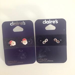 Claire's Santa Claus and Infinity Stud 925 Earring